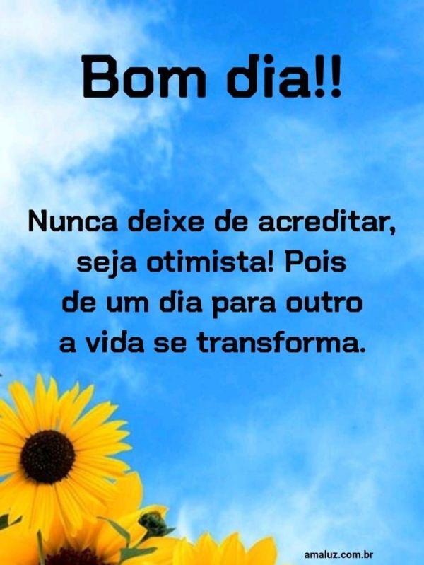 Nunca deixe de acreditar a vida se transforma bom dia