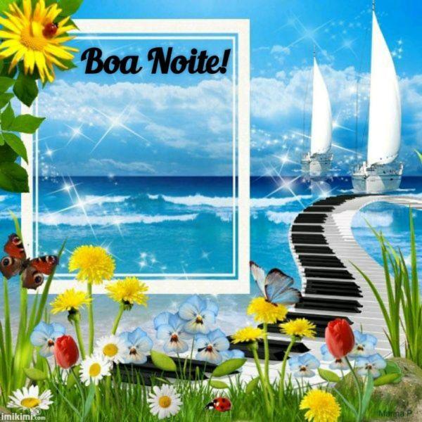 boa noite com imagem de navil jardim e piano
