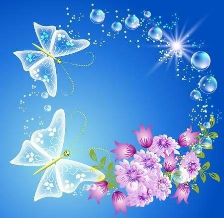 fundo azul com borboletas e flores