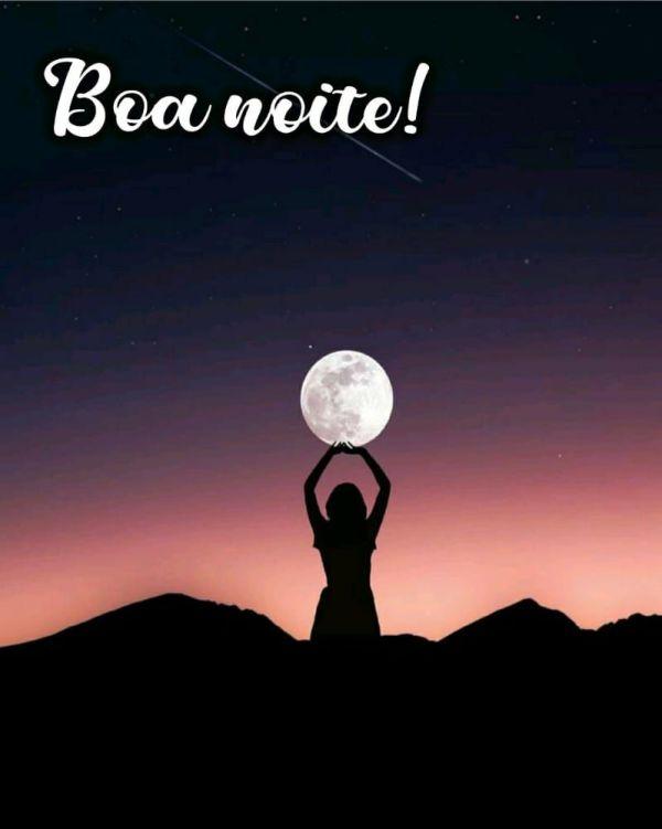 imagem escura com boa noite menina e lua