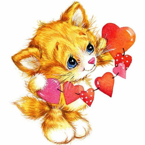 imagem fofa de gatinho com coração