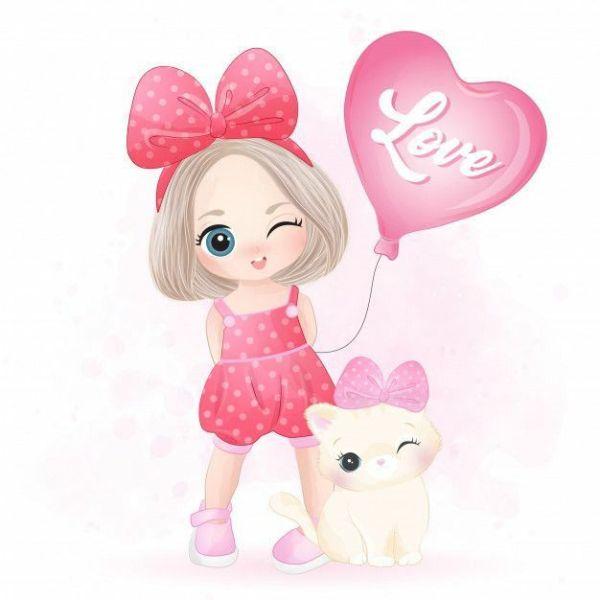 linda imagem rosinha de menininha e gatinho com coração