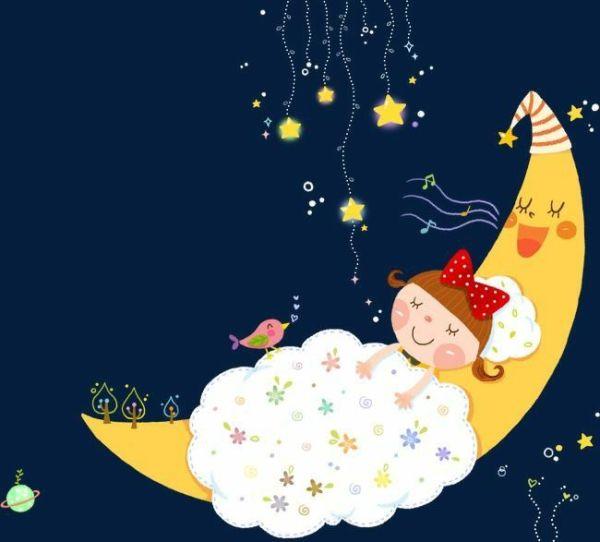 menina dormindo na lua