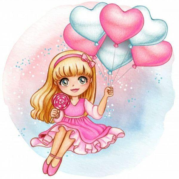 menina rosinha com pirulito e coração