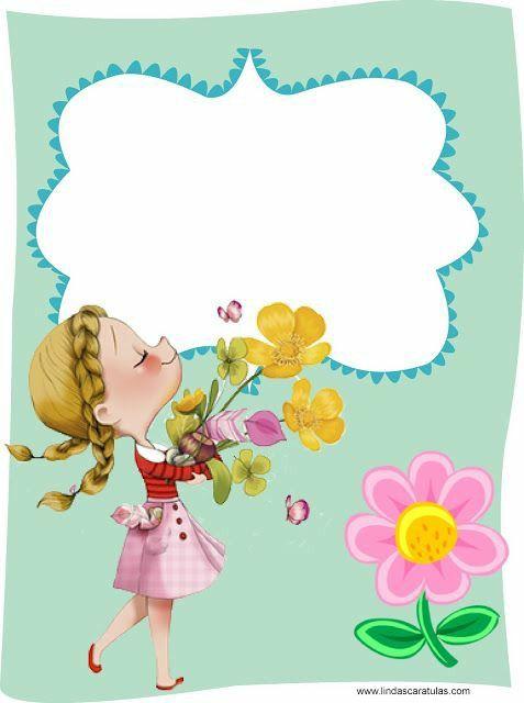 menininha com buque de flores e um balão de mensagens