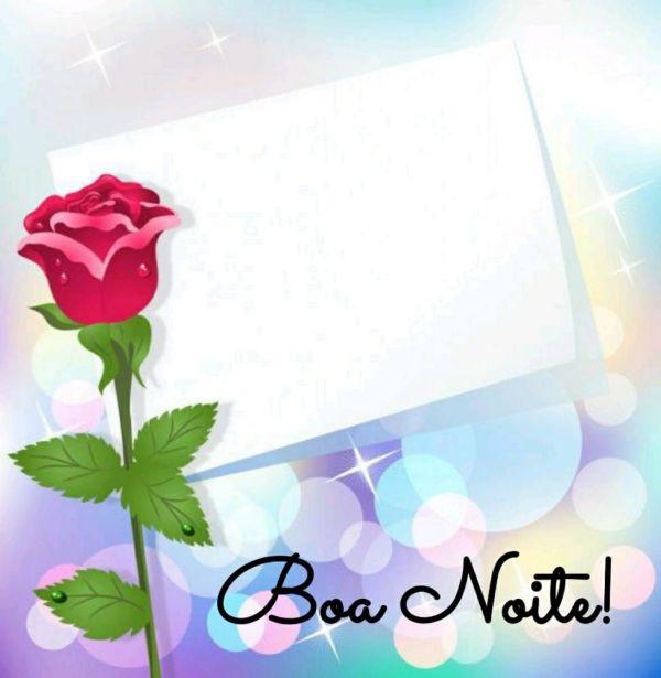 papel para escreve uma mensagem e uma rosa com boa noite
