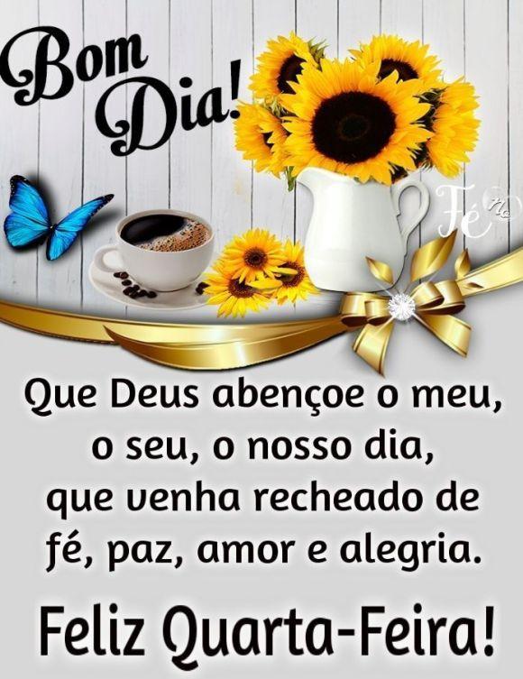 Bom dia feliz quarta feira que Deus abençoe nosso dia