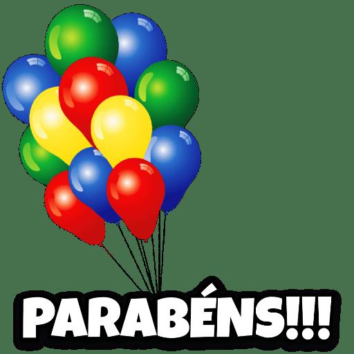 figurinha fundo brabco com balão e parabéns
