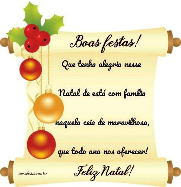que tenha alegria nesse natal de esta com a família feliz natal boas festas