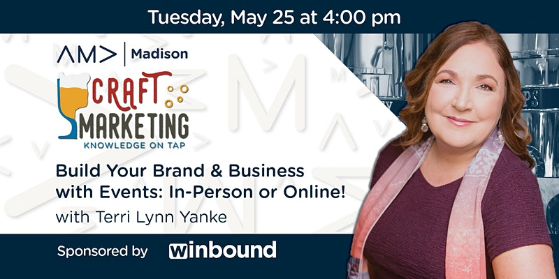 May craft marketing event banner with Terri Lynn's headshot