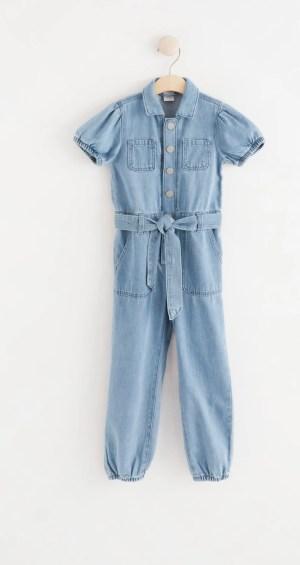 Short Sleeved Denim Jumpsuit