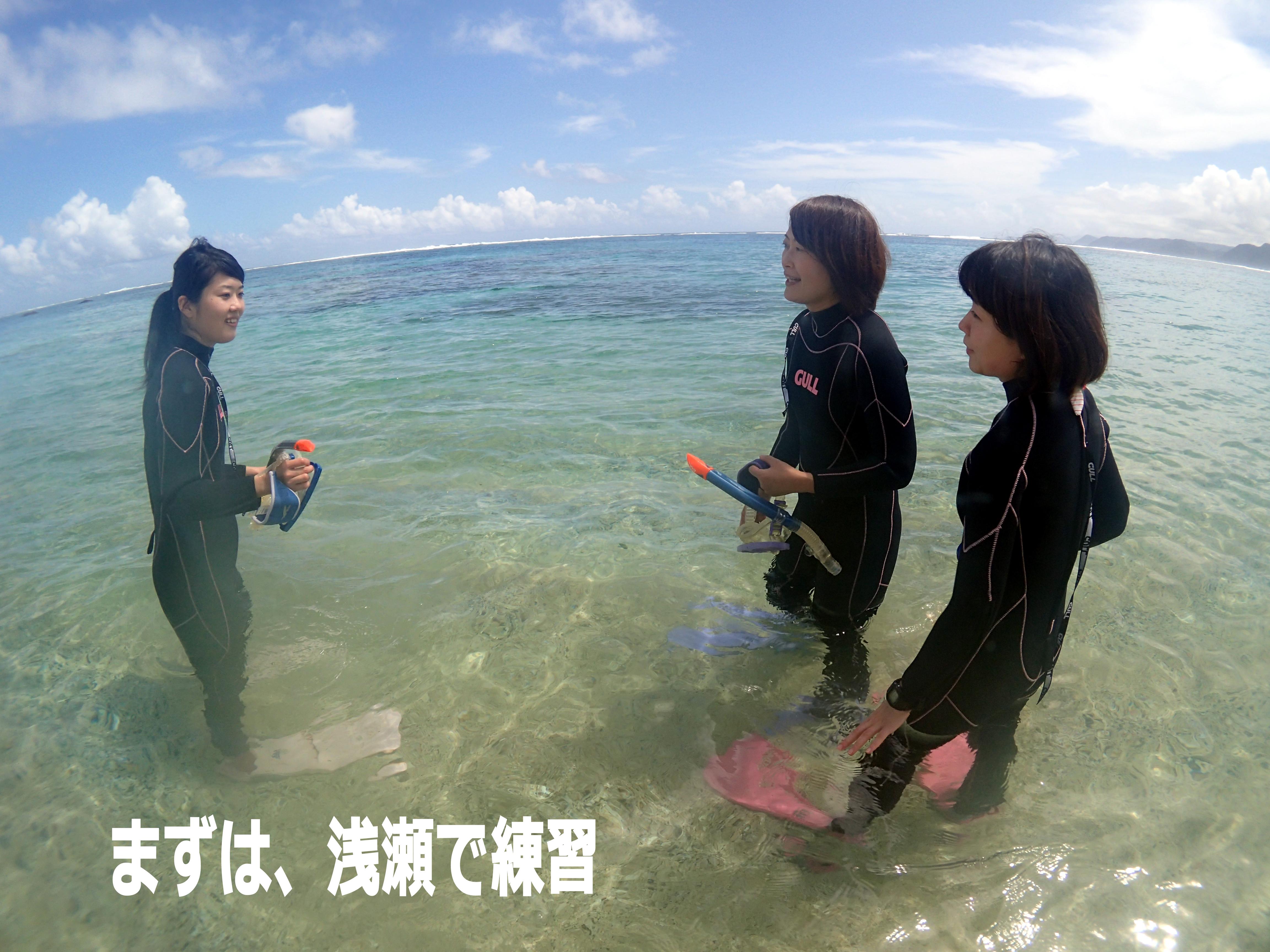 奄美大島ウミガメスイム 浅瀬で練習
