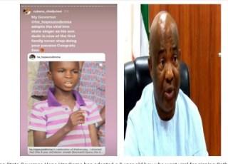 Governor Hope Uzodinma Adopts 9-Year Old Boy Who Went Viral For Singing Catholic Hymns