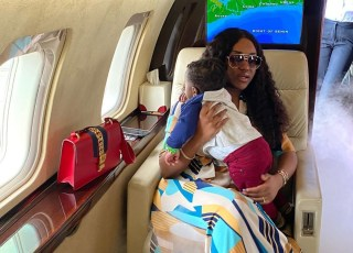 Wow! Check Out These Adorable Photos Of Davido's Fiancee,Chioma And Her Son Inside A Private Jet