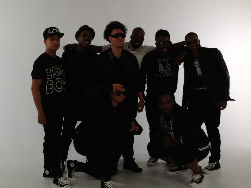 All of the guys getting ready to shoot the breakdown scene in the white room!