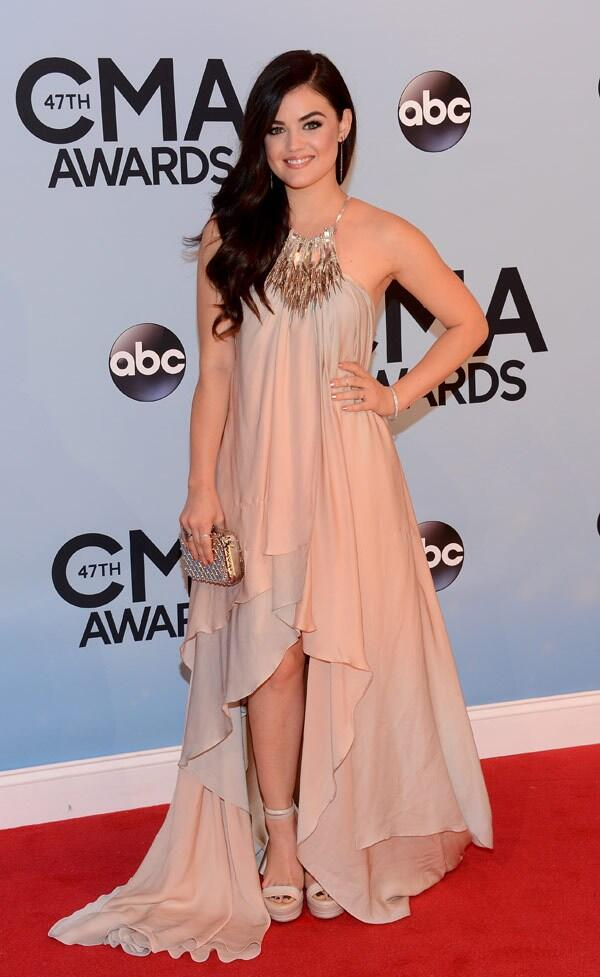 Lucy Hale. I think there's too much nude, she looks washed out, and the dress looks kind of heavy on her.