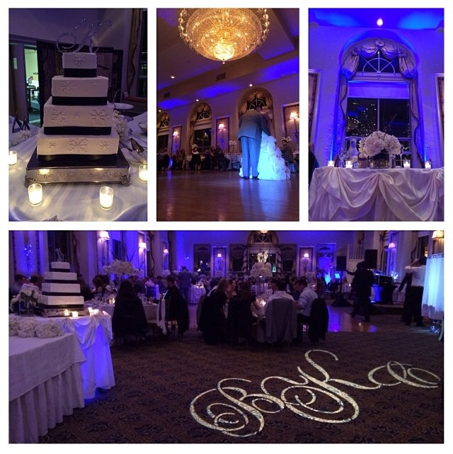 After cocktail hour we entered the ballroom & were blown away by the Winter Wonderland before us! And the monogram - loveee!!