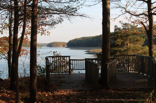 There's a little observation deck along the reservoir in my hometown & I had to stop to take a peek at the foliage...