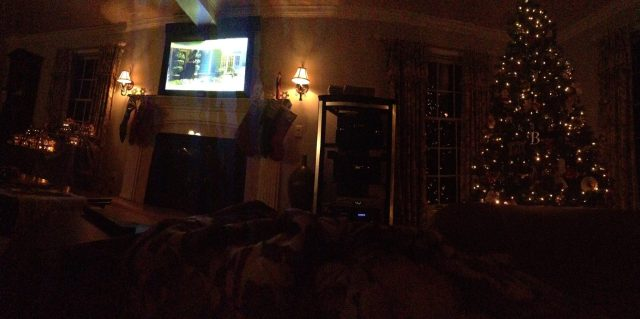 Our family living room all Christmafyied  coz6Watching National Lampoons Christmas Vacation :)