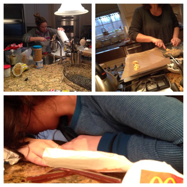 Mom & sister baking...me 1/2 dead after finally making home to my parents house.
