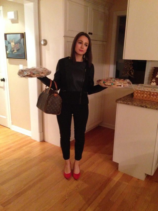 Getting ready to head out & my Mom insisted on snapping a picture of me with my red shoes & cookie trays!