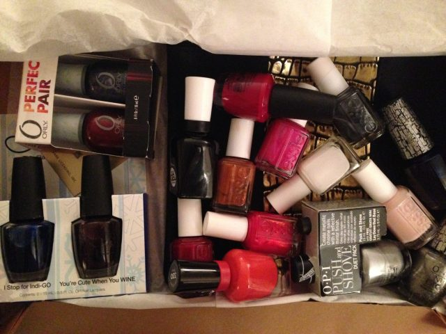 All of my new polishes! Most came from Mike's Aunt & a few from other friends and family members. I have so many that I'm itching to try!