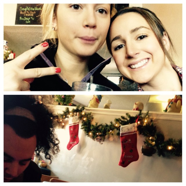 A few snaps at breakfast with my sister & Mike. The little stockings on the wall were so cute!