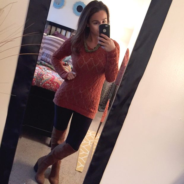Sweater: Target // Leggings: Charlotte Russe // Boots: Forever 21 // Necklace: Consignment