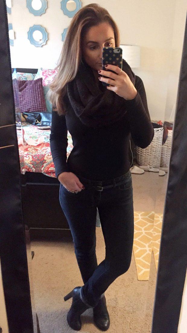 Black Waffle Shirt: Walmart // Jeans: TJ Maxx // Scarf: TJ Maxx // Booties: Prima Donna // Belt: Consignment