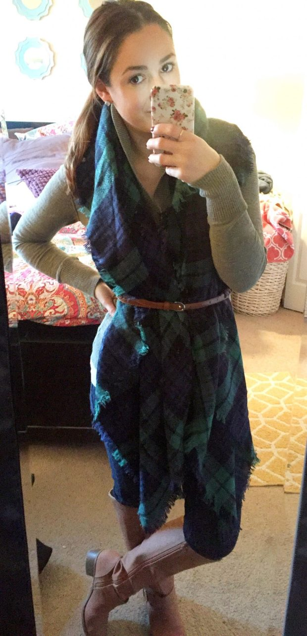 Sweater: Target // Blanket Scarf: KnitPopShop // Jeans: Tokyo?? // Boots: Old Navy // Belt: Consignment // Studs: Ross Simons