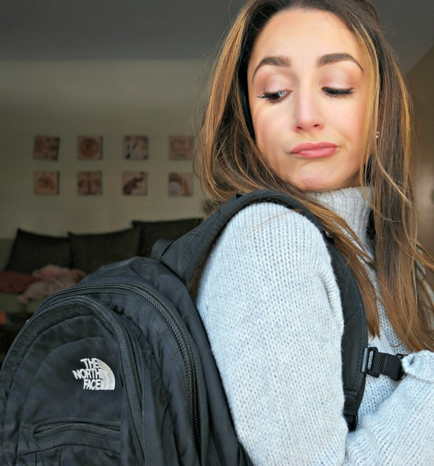 backpack on