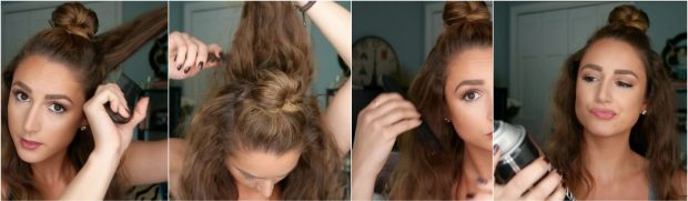Tease the hair under the right, left, and back sides of your head. When you're done, brush over to smooth!