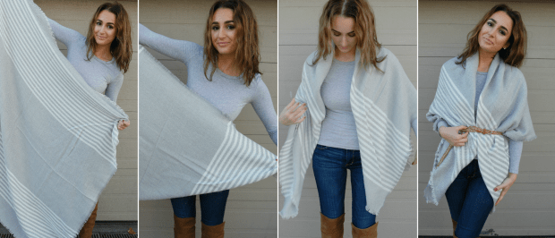 how to belt a blanket scarf