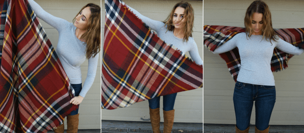 wearing a blanket scarf as a poncho