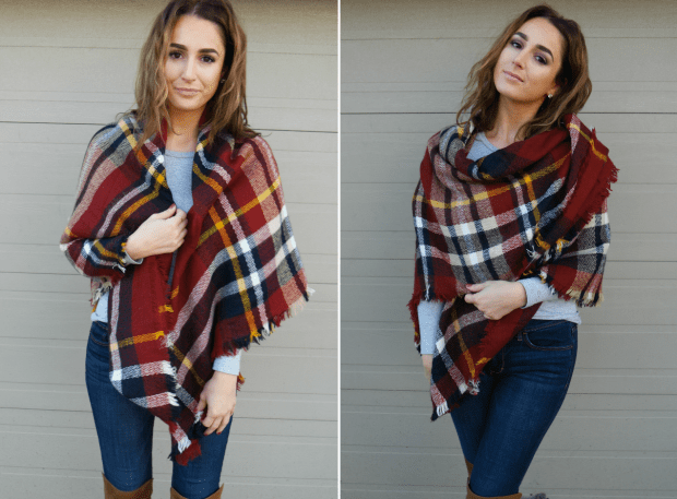 how to wear a blanket scarf as a poncho