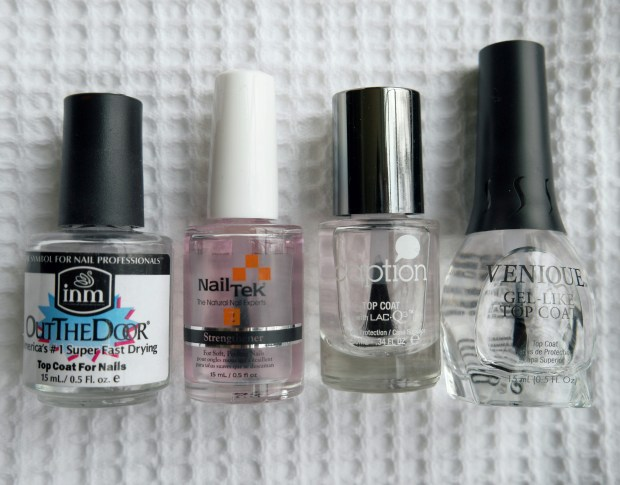 Out The Door & Nail Tek are lighter topcoats. The Caption & Venique formula's are much thicker! The Essie Gel Setter (not pictured because I JUST ran out!) is amazing & a bit thicker as well...