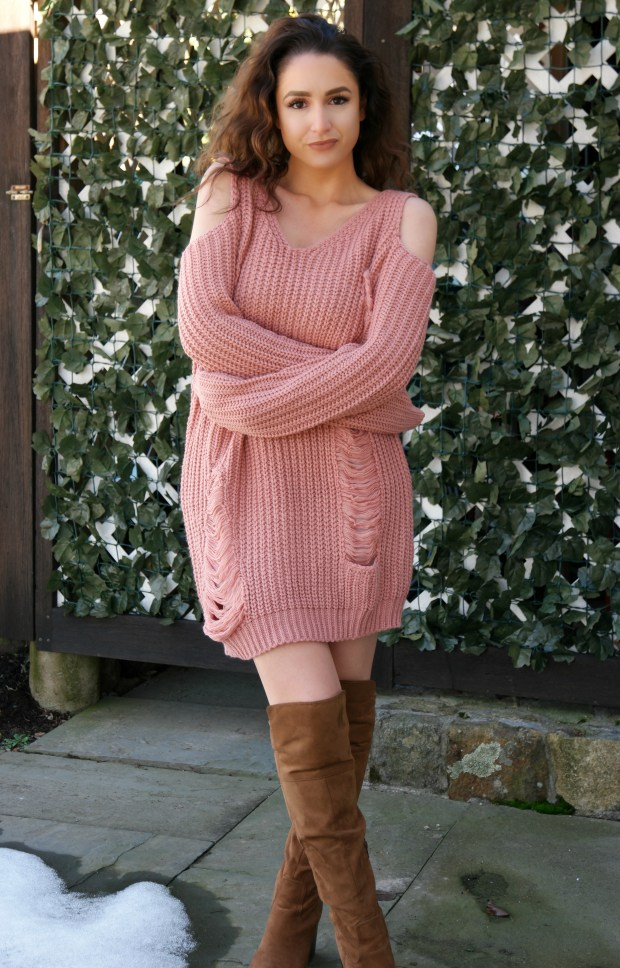 shein-oversized-cold-shoulder-sweater-dress-3