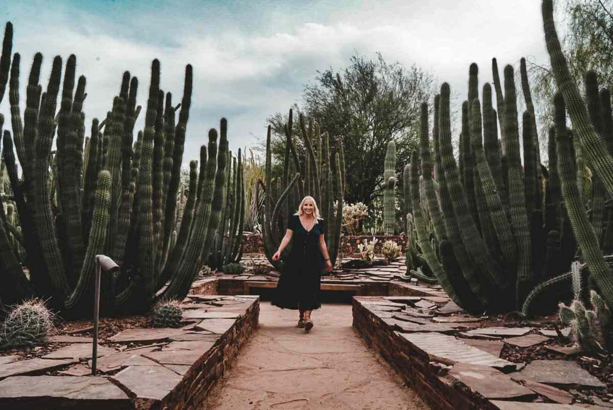 Woman standing amid cacti at Desert Botanical Gardens