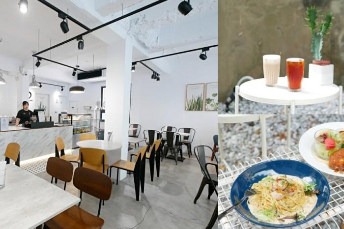 美拍極簡純白系咖啡廳『Cape 開普一號店』生食級干貝義大利麵吃起來!台南美食|台南東區