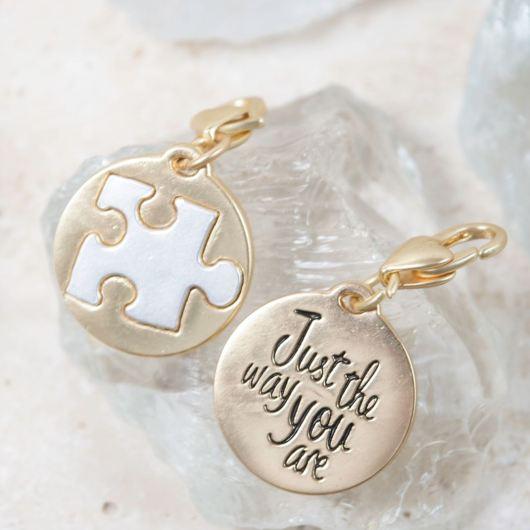 "Gold 2-Tone Medallion - Puzzle Piece ""Autism Awareness"""