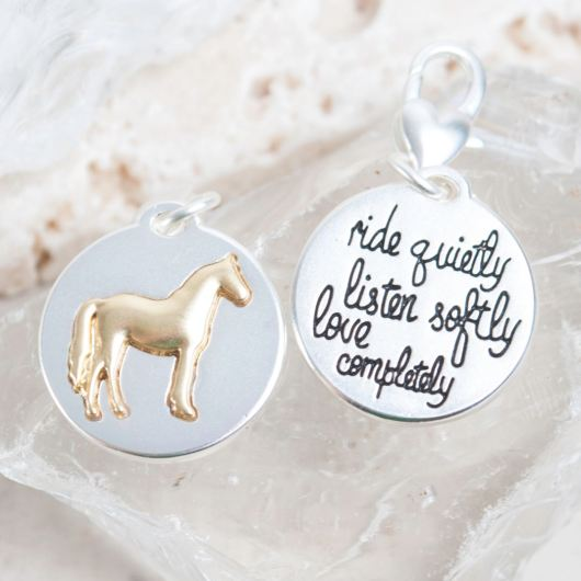 "Silver 2-Tone Medallion - Horse ""Be Present"""