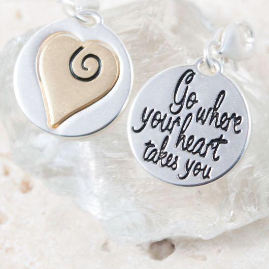 """Silver 2-Tone Medallion - Swirl Heart """"Believe"""""""