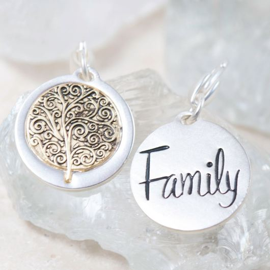 "Silver 2-Tone Medallion - Family Tree ""Tradition"""