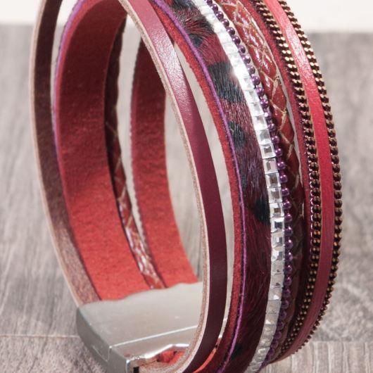 Leather Cuff Bracelet - Cranberry