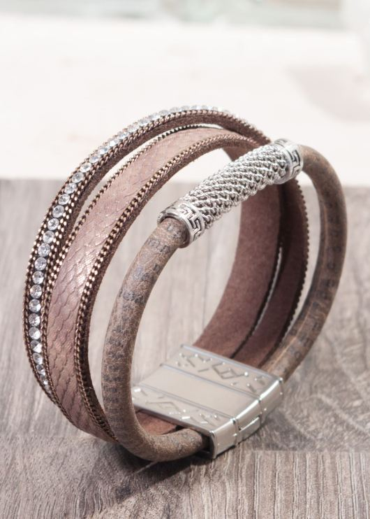 Leather Cuff Bracelet - Brown Bling
