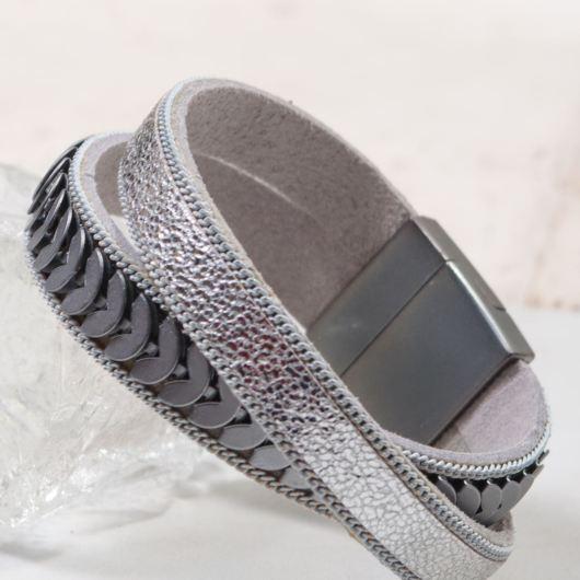 Leather Cuff Bracelet - Silver