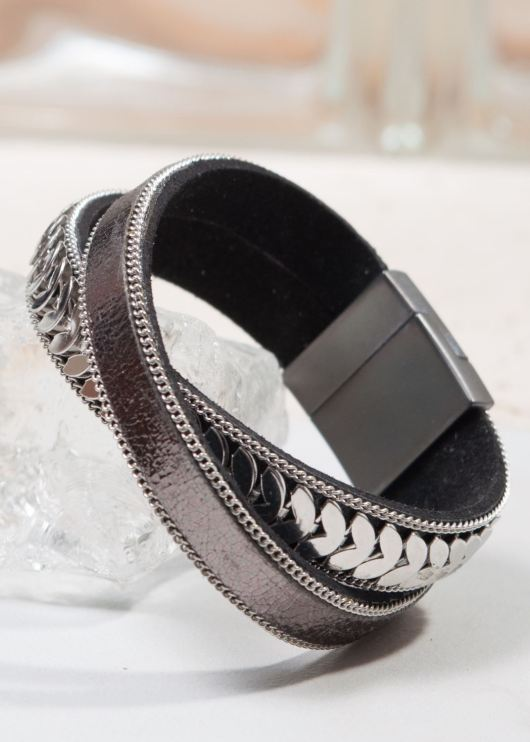 Leather Cuff Bracelet - Gunmetal