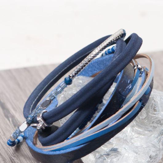 Leather Cuff Bracelet - Deep Blue