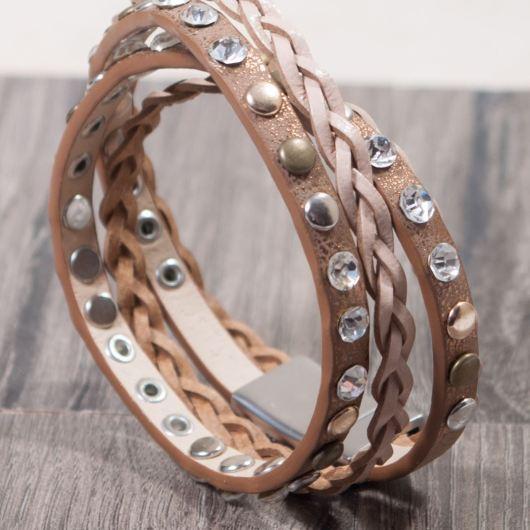 Leather Braid and Stud Wrap Bracelet - Brown