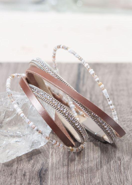Leather Wrap Bracelet - Light Gray